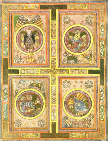 The Book of Kells, an illuminated manuscript of the Gospels