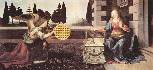 The Annunciation by Leonardo da Vinci (1472-1475) Uffizi Gallery (waffle added)