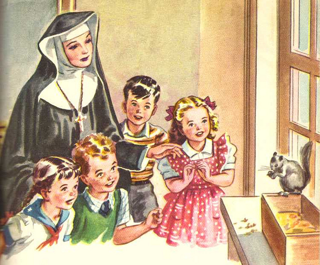 Sister Ruth and the Children with a Squirrel 1942 Catholic School Reader
