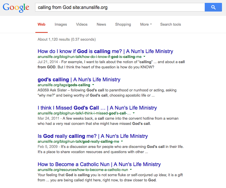 Use Google.com to search by typing a keyword or phrase plus site:anunslife.org