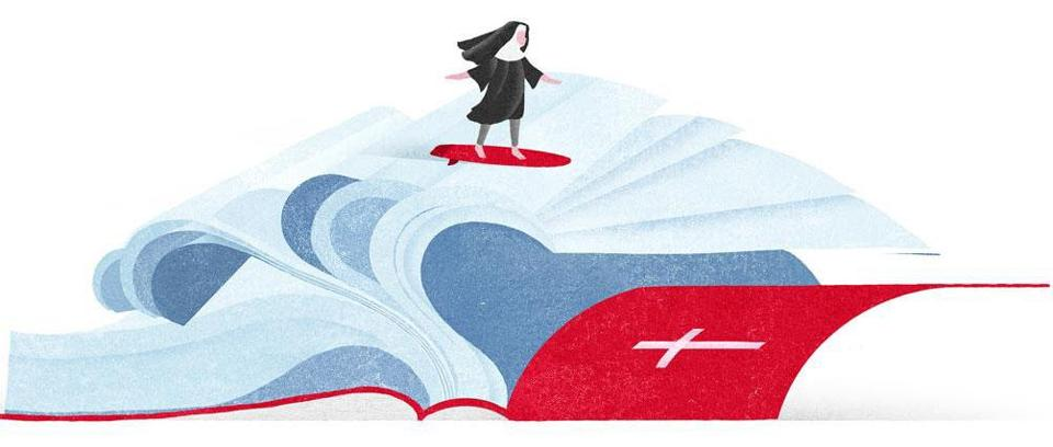 Nun surfing book illustration by Gracia Lam in the Boston Globe