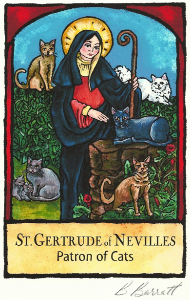 Saint Gertrude with cats by Barbara Barratt